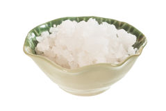 Sea salt in ceramic bowl Stock Photo