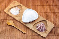Sea salt in ceramic bowl on wood Royalty Free Stock Photography