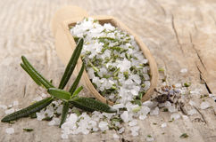 Sea salt with chopped rosemary Royalty Free Stock Photography