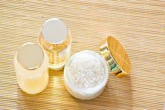 Sea salt and cosmetics Stock Photos
