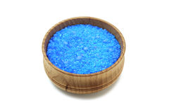 Sea salt crystals in a wooden bowl Royalty Free Stock Photos