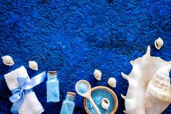 Sea salt from dead sea and shell in cosmetics set for spa on blue background top view copyspace. Sea salt from dead sea and shell in cosmetics set for spa on Royalty Free Stock Images