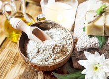 Sea Salt with Dried Flowers for Spa Treatment Royalty Free Stock Photos