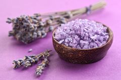 Sea-salt and dried lavender Stock Images