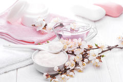Sea salt and essential oils, apricot flowers. spa Stock Photography