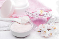 Sea salt and essential oils, apricot flowers. spa Stock Image