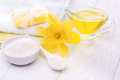 Sea salt and essential oils, narcissus. spa Stock Photo