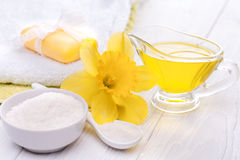 Sea salt and essential oils, narcissus. spa Royalty Free Stock Photography