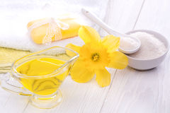 Sea salt and essential oils, narcissus. spa Stock Photography