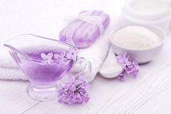 Sea salt and essential oils, purple lilac. spa Stock Image