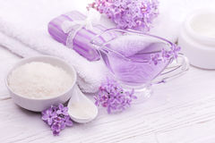Sea salt and essential oils, purple lilac. spa Stock Photography