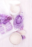 Sea salt and essential oils, purple lilac. spa Royalty Free Stock Photography