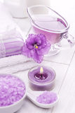 Sea salt and essential oils, purple violet. spa Stock Photos