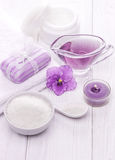 Sea salt and essential oils, purple violet. spa Stock Photography