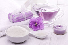 Sea salt and essential oils, purple violet. spa Stock Images