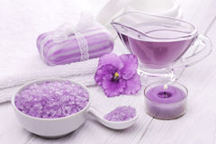 Sea salt and essential oils, purple violet. spa Royalty Free Stock Image