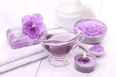 Sea salt and essential oils, purple violet. spa Royalty Free Stock Image