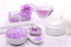 Sea salt and essential oils, purple violet. spa Royalty Free Stock Photography