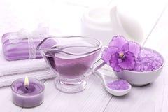 Sea salt and essential oils, purple violet. spa Stock Image