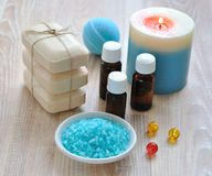 Sea salt, essential oils, soap and candle Royalty Free Stock Images