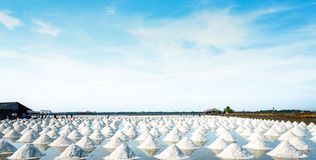 Sea salt farm and barn in Thailand. Raw material of salt industrial. Sodium Chloride. Solar evaporation system. Iodine source. stock images