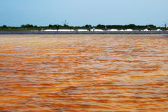 Sea salt field in Thailand. The orange water is hydrating and become sea salt royalty free stock photography