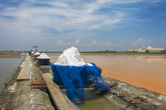 Sea salt field. In Thailand, showing natural orange water before drying to become salt royalty free stock photos
