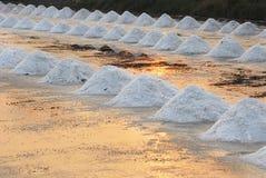 Sea salt field. In Thailand on sun sets Stock Photography