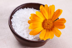 Sea salt with flower marigold Stock Image