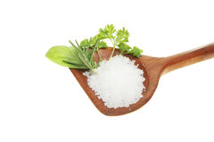 Sea salt and fresh green herbs in a spoon Royalty Free Stock Photos