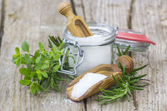 Sea salt and fresh herbs Stock Images