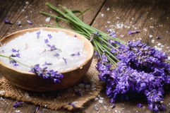 Sea salt and fresh lavender Royalty Free Stock Image