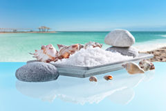 Sea salt on a glass table stock images