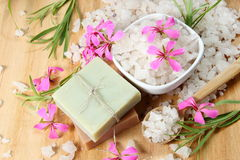 Sea Salt and Handmade Soap with Flowers Stock Photography