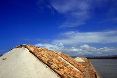 Sea Salt heaps covered terracotta, Trapani Stock Images