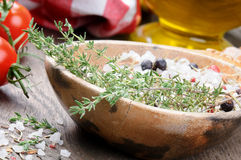 Sea salt with herbs Royalty Free Stock Photo