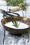 Sea salt with herbs Stock Photos