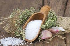 Sea salt with herbs and garlic Stock Image