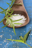 Sea salt with herbs in a spoon Royalty Free Stock Photo