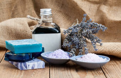 Sea Salt with Homemade Soap Royalty Free Stock Image