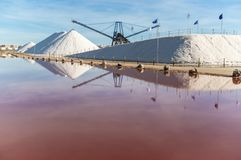 Sea salt industry. In Torrevieja, Alicante province, Spain, Europe stock image