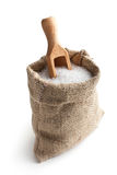 Sea salt in jute sack Stock Images