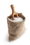 Sea salt in jute sack stock images