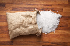 Sea salt in jute sack Stock Photography