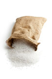 Sea salt in jute sack Stock Photos