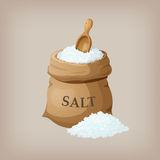 Sea salt in jute sack. Vector illustration Stock Photography
