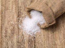 Sea salt in jute sack Royalty Free Stock Photo