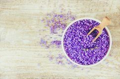 Sea salt with lavender extract. Selective focus Royalty Free Stock Images