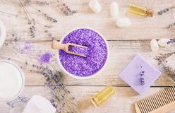 Sea salt with lavender extract. Selective focus Royalty Free Stock Photography