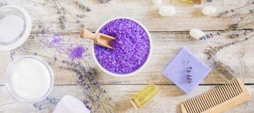 Sea salt with lavender extract. Selective focus Royalty Free Stock Image
